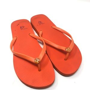 Tory Burch Size 9 Fire Orange Thin Flip Flops